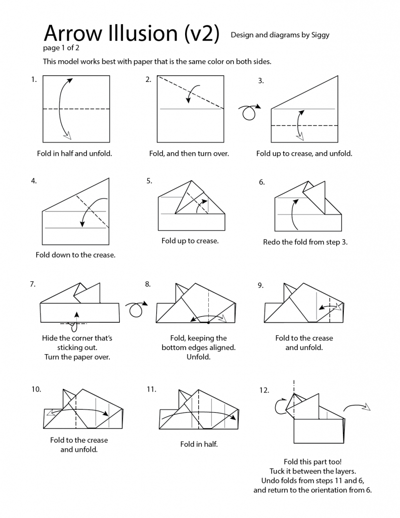 First page of the Arrow Illusion folding diagrams