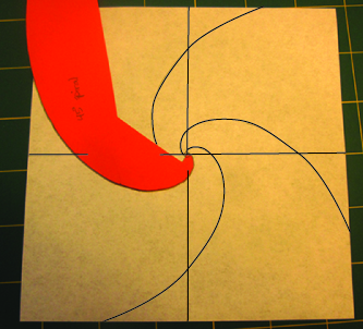 photo showing how I trace the spirals