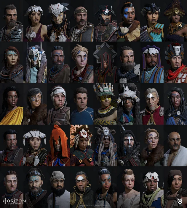 A bunch of minor HZD characters