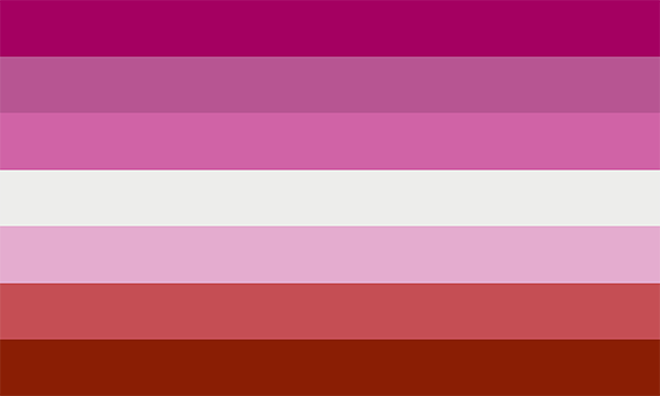 flag with seven horizontal stripes. The middle one is white and the other six are shades of pink.