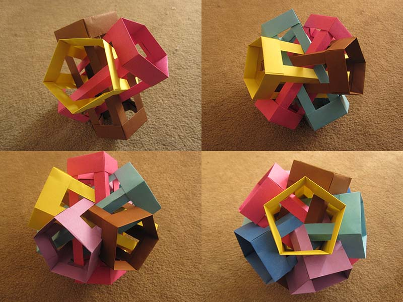 Origami: Six intersecting pentagonal prisms