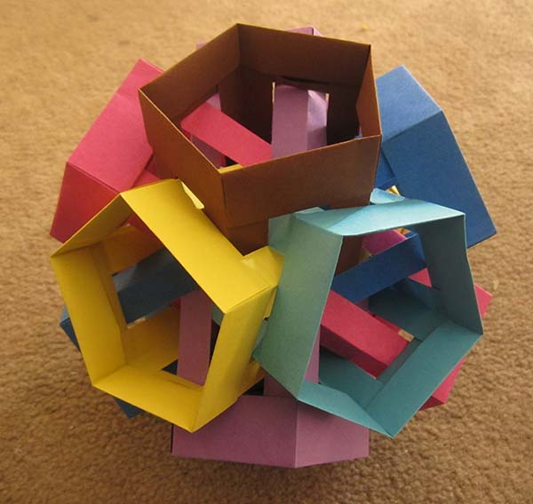 Six intersecting pentagonal prisms