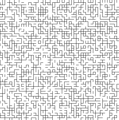 A square grid of lines where only half of the line segments are randomly drawn