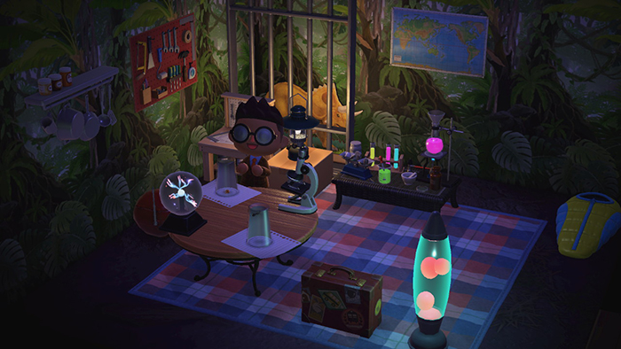Room decorated as a lab in a dark jungle.  There are glowing tubes, a lightning ball, and a triceratops in a cage.