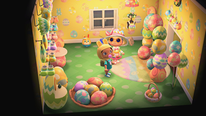 Room filled with pastel-egg themed furniture