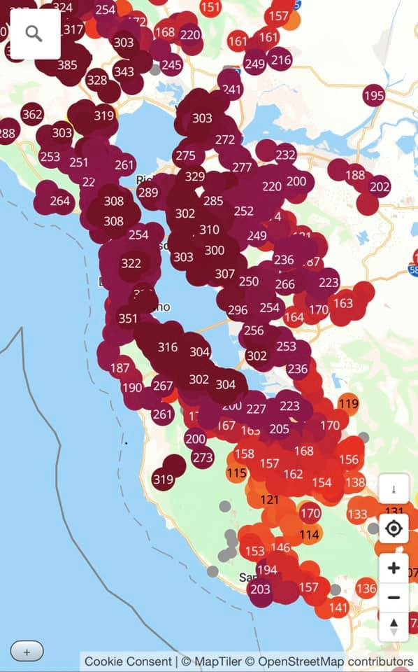 Map of AQI in the SF bay area. In many parts of the bay, it reached 300.
