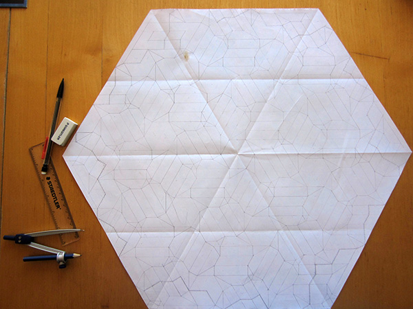 three axis woven design crease pattern