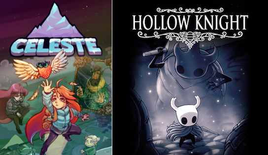 box art for celeste and hollow knight