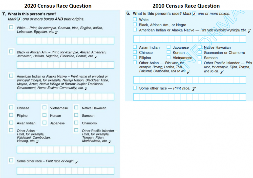 The 2010 and 2020 us census race questions side by side