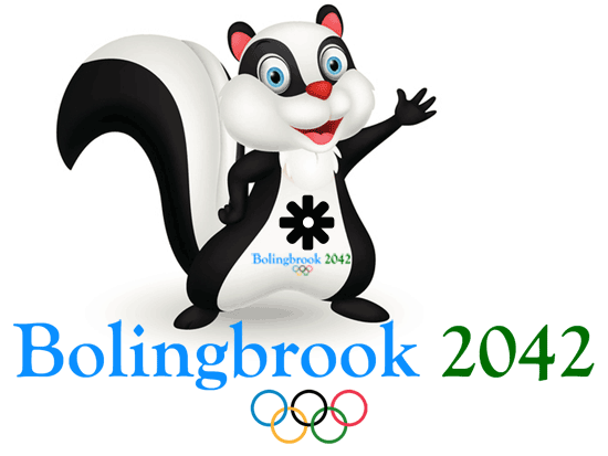 "A cartoon skunk waves at the reader. Below it are the words ""Bolingbrook 2042"" and the Olympic Rings."