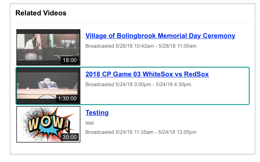 Images of three videos on the Village of Bolingbrook web site.
