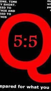 "A red Q with ""5:5"" printed inside."