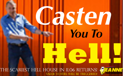 A picture of Rep. Sean Casten pointing towards the Gates of Hell.