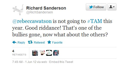 """RichSandersen calls Rebecca Watson a """"bully"""""""