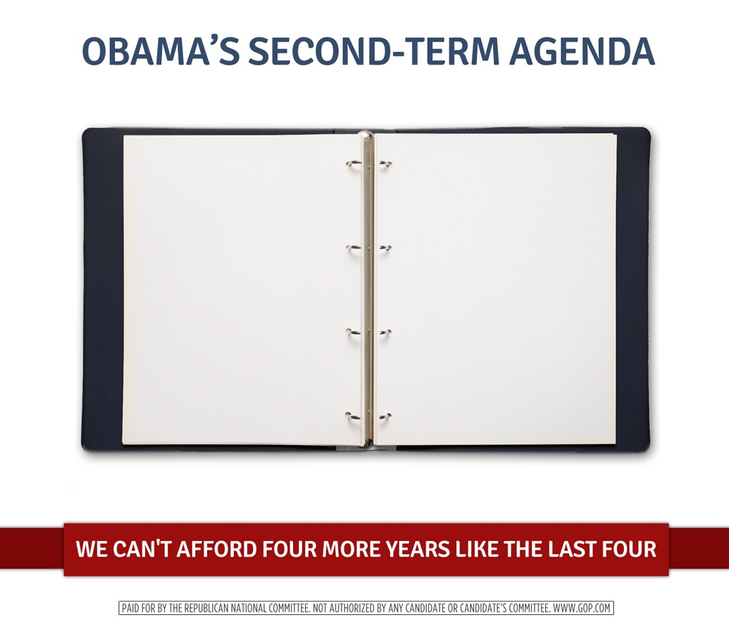 "An empty binder, with a caption reading ""Obama's second-term agenda"""