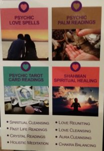 Flier listing various services offered by a psychic