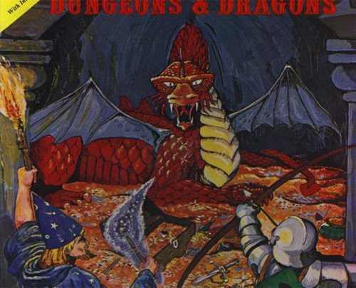 cover of old dungeons & dragons book, features an archer, a wizard, and a dragon
