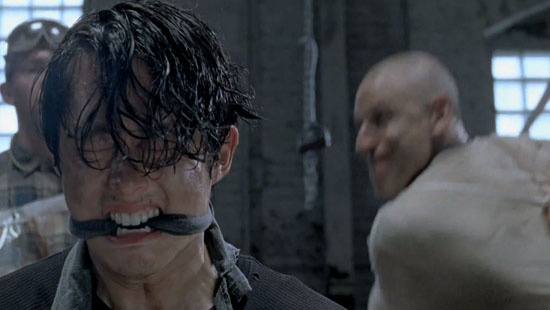 glenn from the walking dead, gagged and about to be murdered