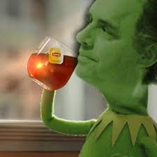 Jordan the Frog sips tea