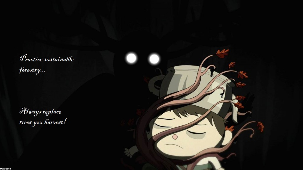 "The image shows Gregory, a small child from the miniseries Over the Garden Wall. He is unconscious, and looks tired and sad, with a downturned mouth and dark circles under his eyes. He has a teapot on his head, part of a halloween costume. Tree branches are growing up his body and wrapping around his neck and head, one lying across his face. The branches have a very small number of red oak leaves at the tips, and are dripping some black, oily substance. In the darkness behind the child, a menacing figure looms. It is a black silhouette, darker than the already dim background and difficult to make out. It looks vaguely humanoid, but has large antlers branching from its head, and its eyes are glowing white circles. Its hand can be seen on the other side of Gregory, as if it is reaching out to caress either the child or the tree that is growing around him. The caption reads ""Practice sustainable forestry... Always replace trees you harvest!"