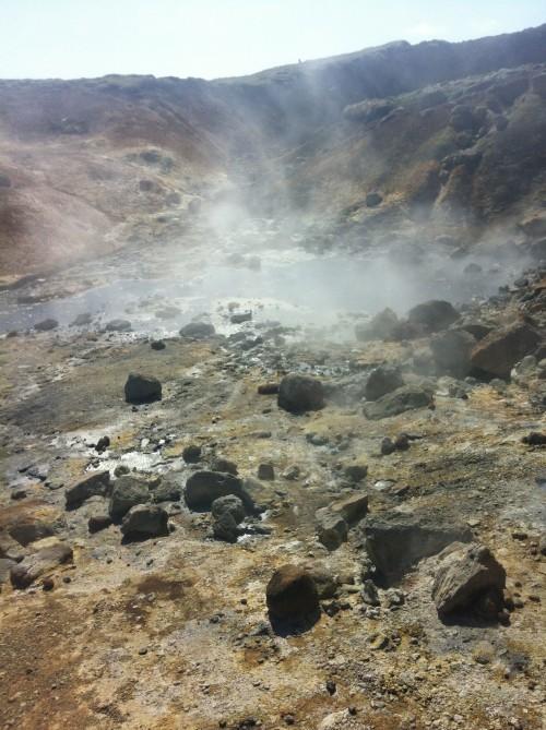 Steaming pools of mud