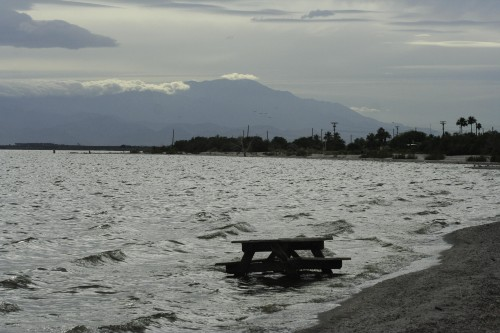 The Salton Sea with Mount San Jacinto in the background