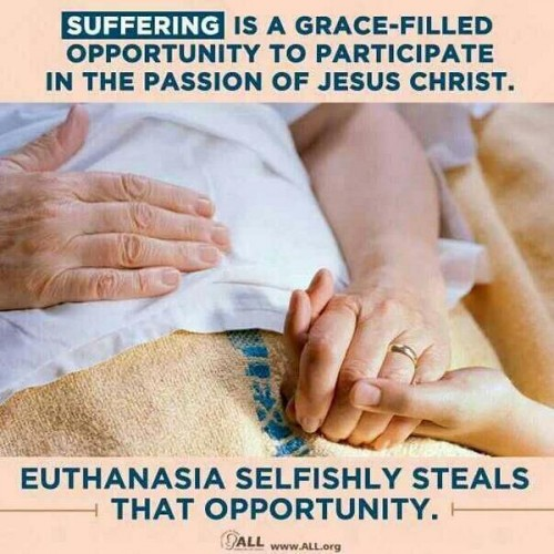 Suffering is a grace-filled opportunity to participate in the passion of Jesus Christ. Euthanasia selfishly steals that opportunity.