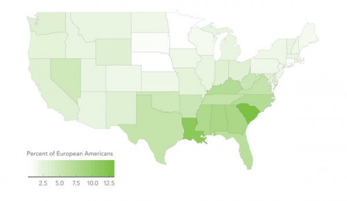 The percentage of self-identified European Americans who have one percent or more of African ancestry.