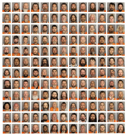 A composite image of handout booking images made available on 19 May 2015 by the McLennan County Sheriff's Department showing scores of men and women arrested and charged with crimes stemming from a large shootout and fight between biker gangs outside the Twin Peaks bar and restaurant at the Central Texas Marketplace in Waco, Texas, USA, 17 May 2015. Reports indicate that nine bikers were shot and killed and 18 other wounded. Police have announced that 192 people face charges of engaging in organized crime.  EPA/MCLENNAN COUNTY SHERIFF  HANDOUT EDITORIAL USE ONLY
