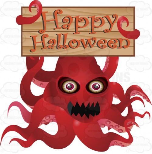 """A Red Angry Squid-Like Creature Monster Holds Up A Wooden Board In Its Tentacles With """"Happy Halloween"""" Written In Orange On it"""