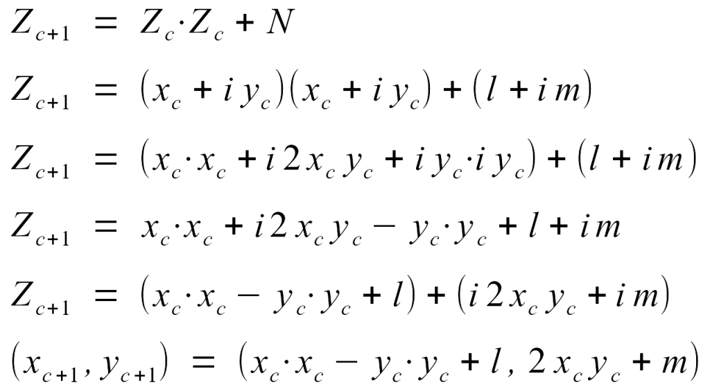 Condensing the complex number math down into a more conventional algorithm.