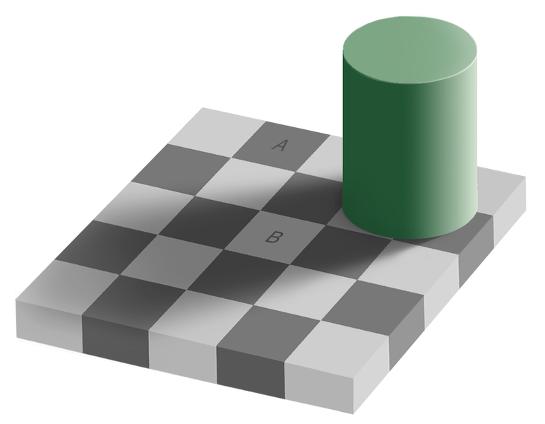 Adelson's checker shadow illusion.