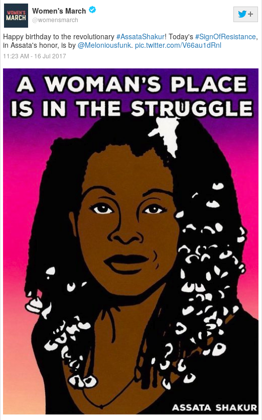 WOMEN'S MARCH: Happy birthday to the revolutionary #AssataShakur! Today's #SignOfResistance, in Assata's honor, is by @Meloniousfunk. pic.twitter.com/V66au1dRnl