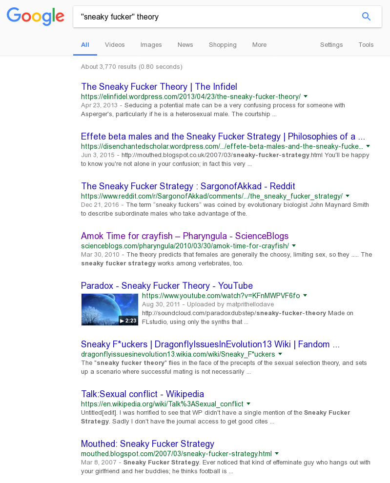 "A general Google Search for '""sneaky fucker"" theory'. Much more illuminating!"