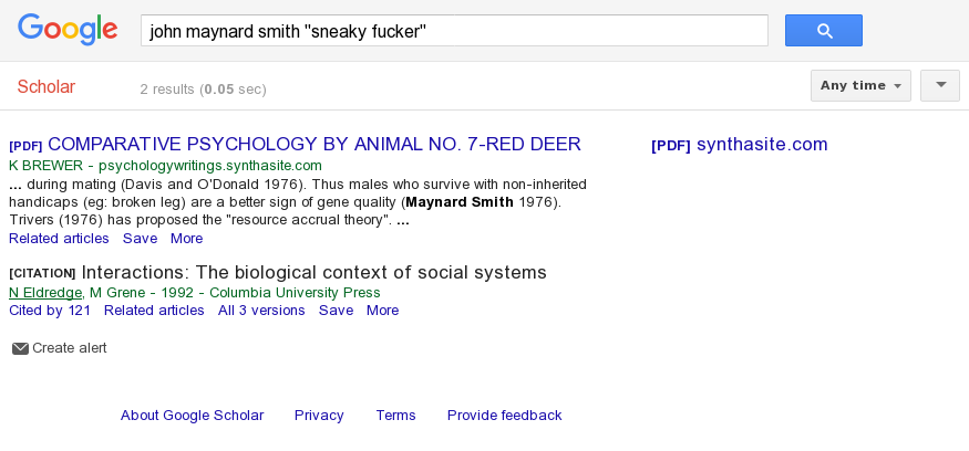 "Google Scholar on 'john maynard smith ""sneaky fucker""': tumbleweeds."