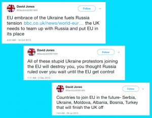 "Several Tweets from ""DavidJo52951945"" about Ukraine. They have a heavy pro-Kremlin bias."