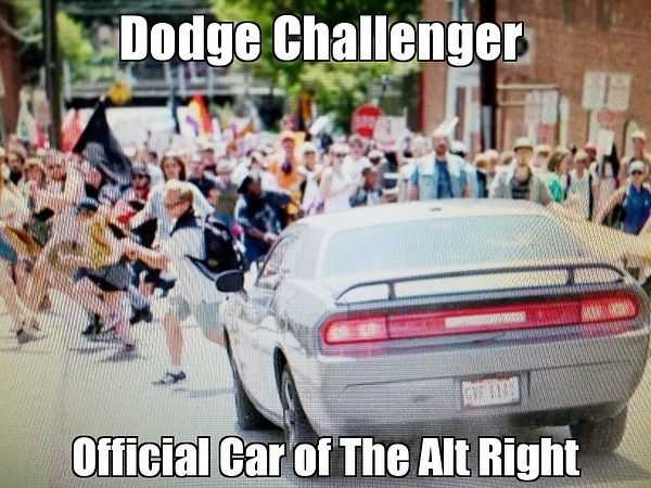 "Superimposed over a photo of protesters fleeing an oncoming car: ""Dodge Challenger: Official Car of the Alt Right."""