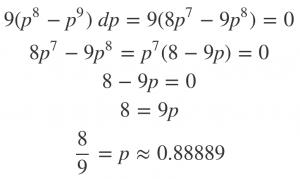 The MLE estimate for the eight-legit-one-fake scenario: p = 8/9