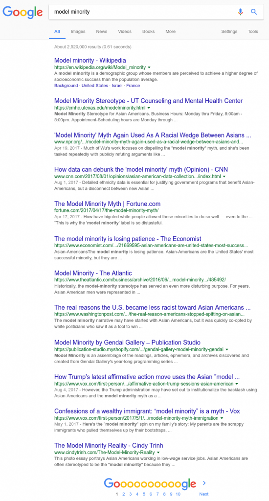 """Searching for just """"model minority"""" on Google."""