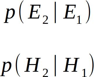 p( E2 | E1 ) , p( H2 | H1 )