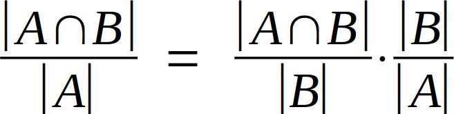 |A ∩ B| / |A| = |A ∩ B| / |B| * |B| / |A|