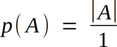 p( A ) = |A| / 1