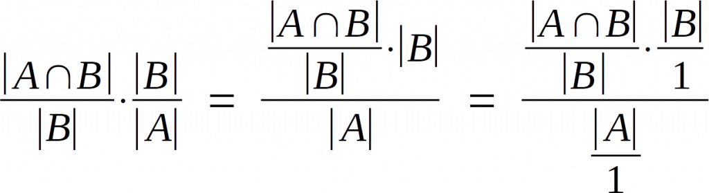|A ∩ B| / |B| * |B| / |A| = (|A ∩ B| / |B| * |B|) / |A| = ((|A ∩ B| / |B|) * (|B|/1)) / (|A|/1)