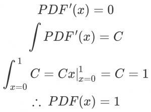 PDF'(x) = 0\ \int PDF'(x) = C\ \int_{x=0}^1 C = \left. Cx \right|_{x=0}^1 = C = 1\ \therefore ~ PDF(x) = 1