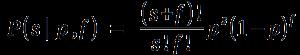 "P( s `divides` p,f ) ~=~ { (s+f)""!"" } over { s""!"" f""!"" } p^s ( 1-p )^f"