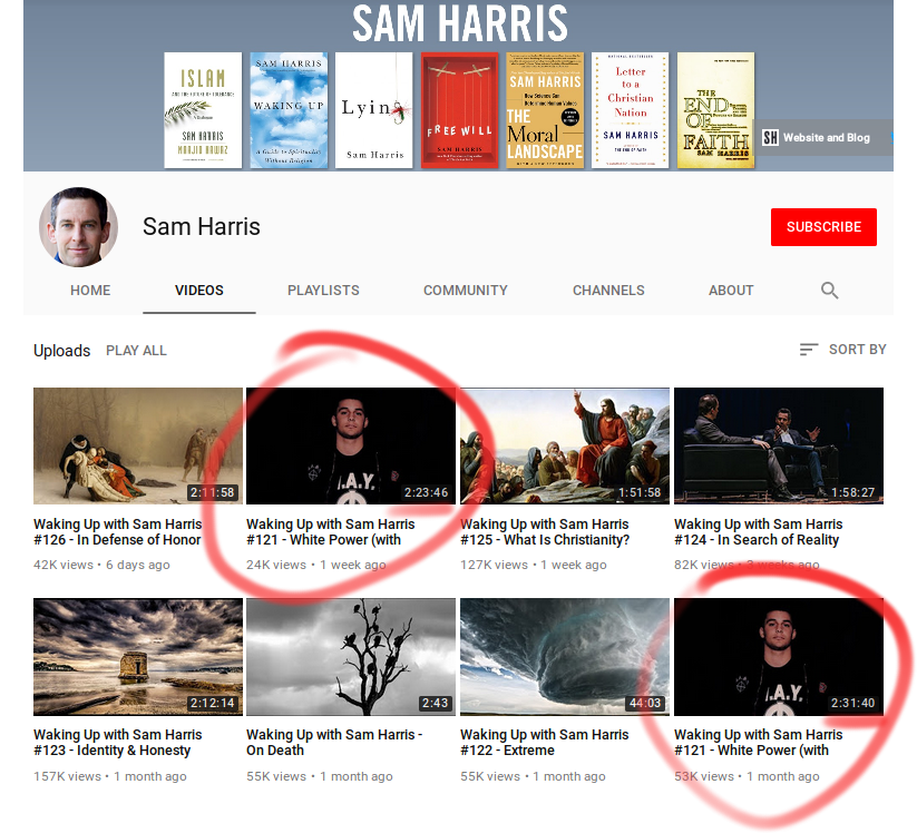 Sam Harris' YouTube page. Note the duplicate?