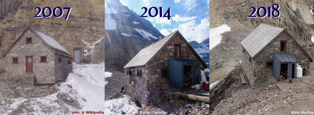 Comparing the Abbot Pass Hut from 2007 to 2018. Photos by pmc @ Wikipedia, Parks Canada, and Kate Hurley.