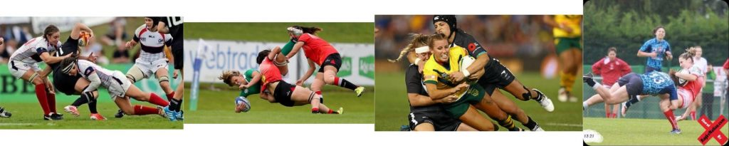 A small montage of women rugby players tackling each other. Credits at the bottom.