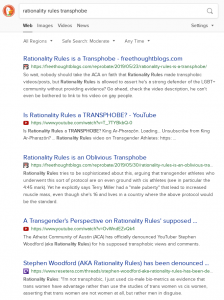 "The top five search results for ""rationality rules transphobe"" on DuckDuckGo (Google) as of June 16th, 2019"