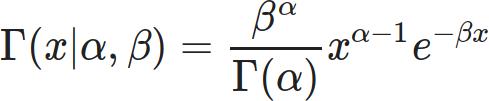 \Gamma(x | \alpha, \beta ) = \frac{\beta^\alpha}{\Gamma(\alpha)} x^{\alpha-1} e^{-\beta x}